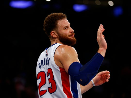 Blake Griffin reacts towards his bench against the Knicks during the second half of the Pistons' 105-92 win Feb. 5, in New York.
