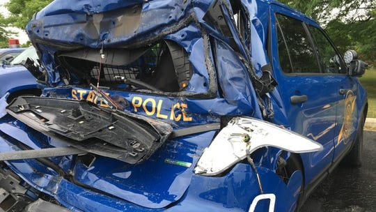 Police say they fear for their safety when on the side of the road because getting hit from behind is not uncommon. A Michigan State Police trooper was seriously injured in a crash in Southfield after his SUV patrol vehicle was struck by a large construction van on July 25, 2016.