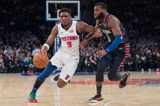 Detroit Pistons guard Langston Galloway (9) drives against New York Knicks guard Kadeem Allen (0) during the first half of an NBA basketball game, Tuesday, Feb. 5, 2019, at Madison Square Garden in New York.