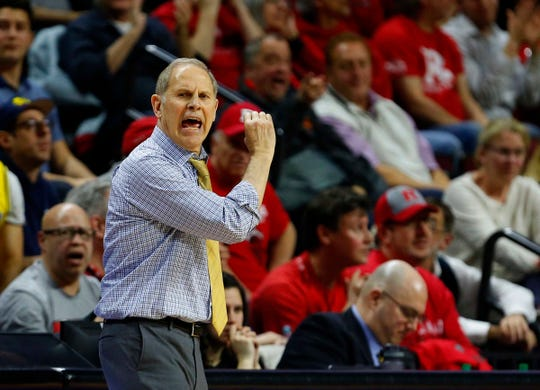 Michigan Wolverines head coach John Beilein coaches against the Rutgers Scarlet Knights during the second  half at Rutgers Athletic Center (RAC) on Feb. 5, 2019.