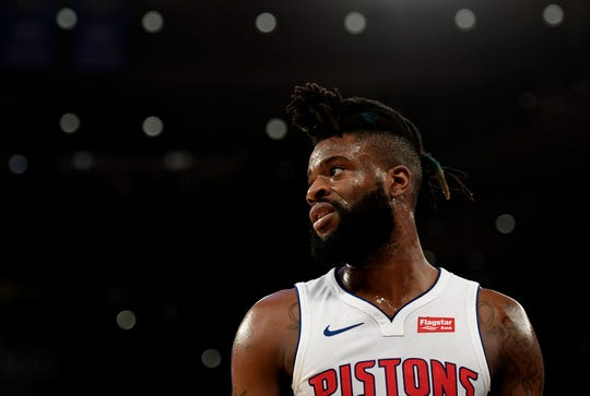Reggie Bullock #25 of the Detroit Pistons looks on during the first quarter of the game against the New York Knicks at Madison Square Garden on February 05, 2019 in New York City.