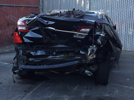 Commander David Lazar sent photos from his Oct. 12, 2015 crash in San Francisco caused by a red-light runner. He credits Ford Motor Co. with engineering and design that saved his life. Lazar, a veteran police officer, said he broke a rib and returned to work in days.