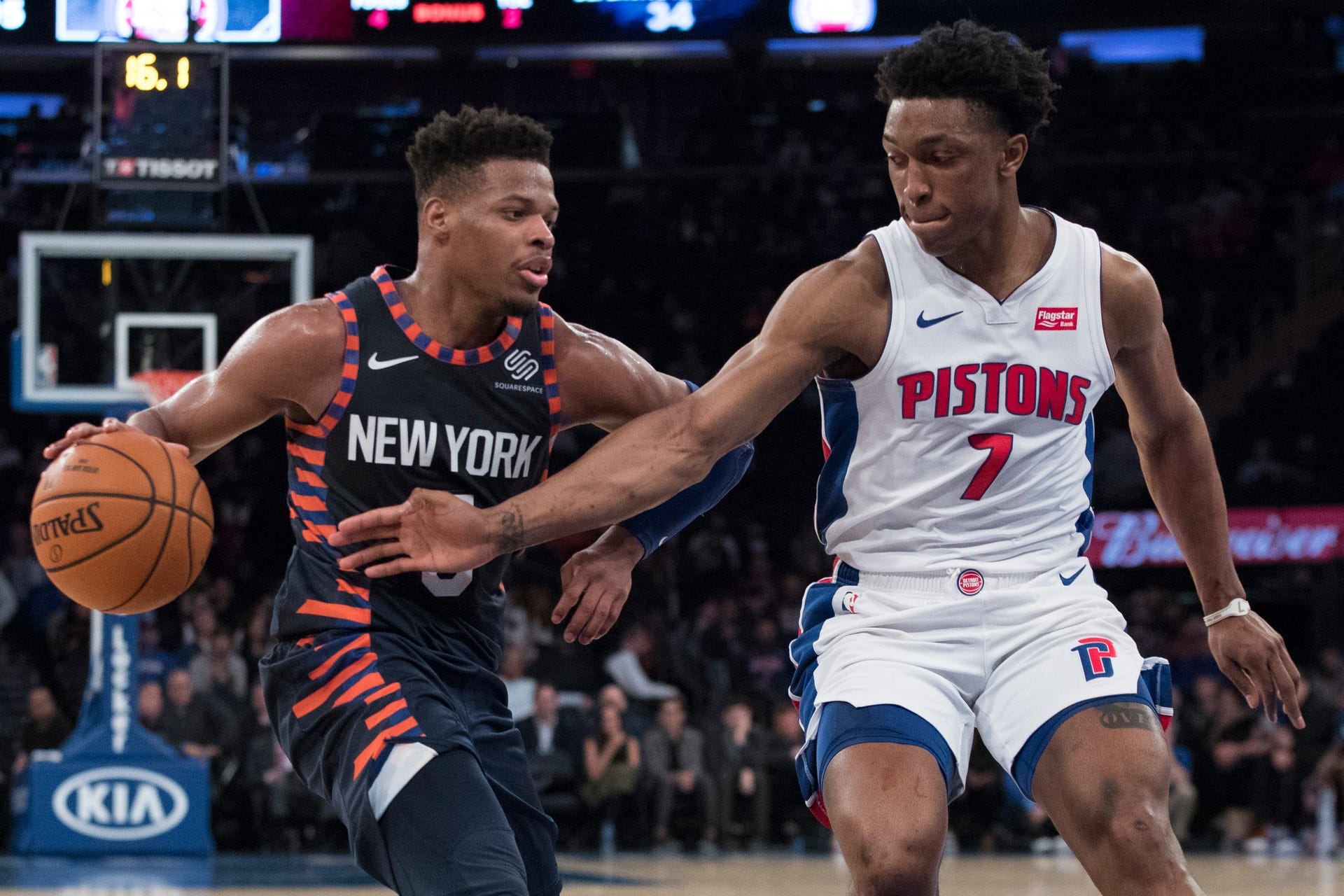 2891b16b9 Knicks guard Dennis Smith Jr. drives to the basket against Pistons forward  Stanley Johnson during