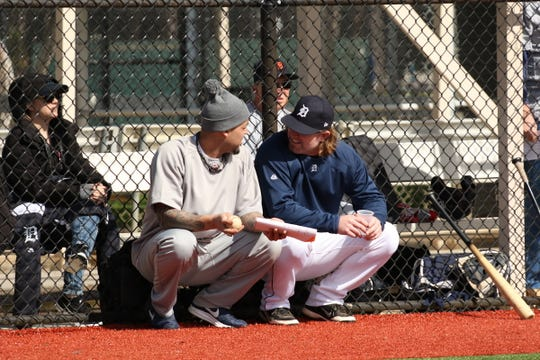 Former Detroit Tigers players Joel Zumaya (left) and Nate Robertson coached Team 2 at the Detroit Tigers fantasy camp.