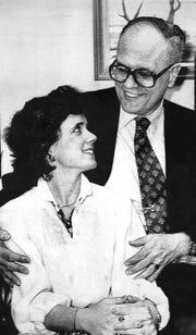 "Rep. John Dingell Jr. poses with his wife to be, Deborah A. Insley, in his office on Capitol Hill on March 6, 1981.  ""It was a good match,"" longtime friend and former Michigan attorney general Frank Kelley said of Dingell's second marriage. ""She was his moral compass. People in public life need a very strong spouse."""