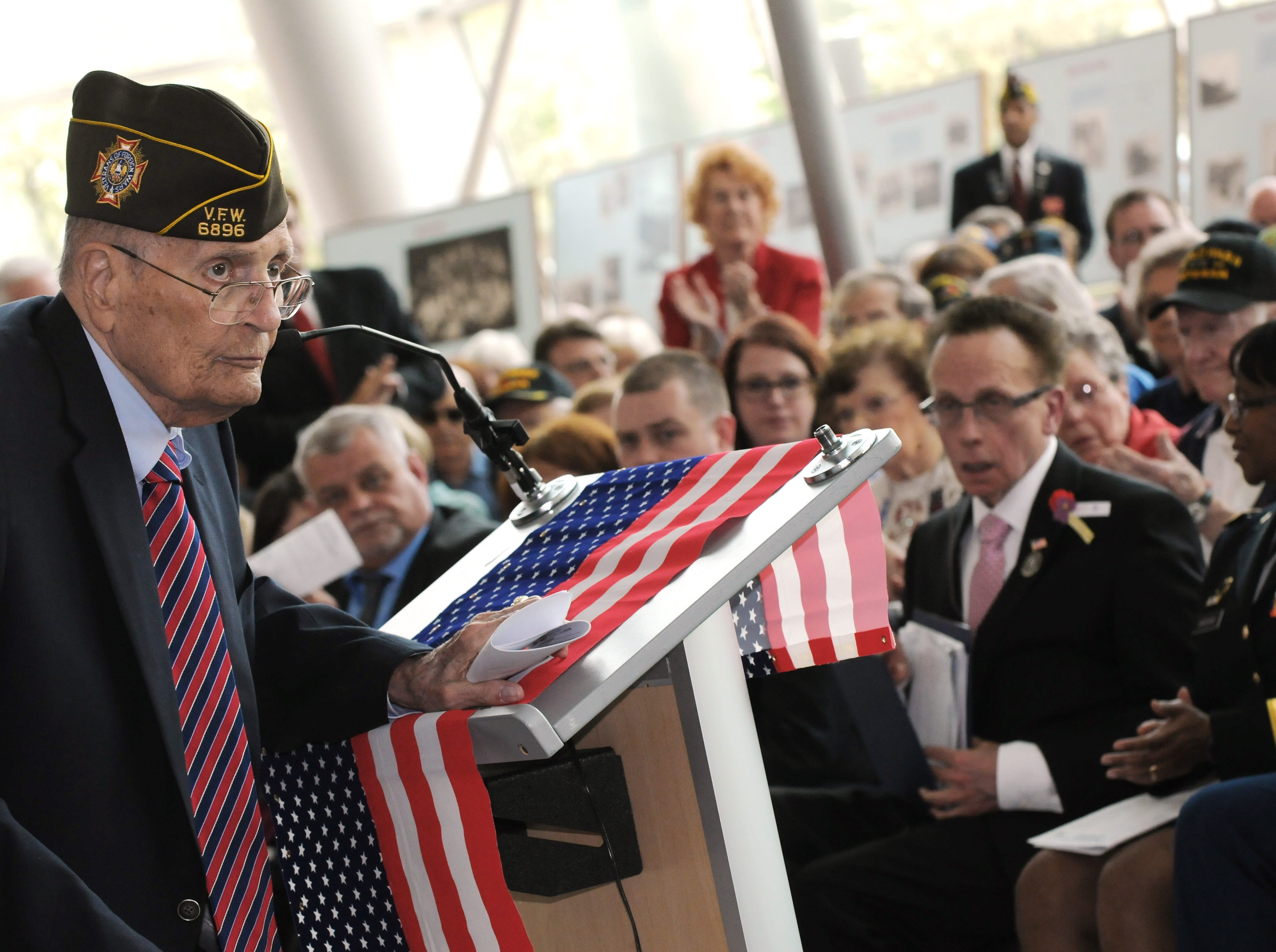 Retired U.S. Rep. John Dingell speaks at  the City of Warren's celebration of the 70th anniversary of the end of WWII at Warren City Hall, May 8, 2015.