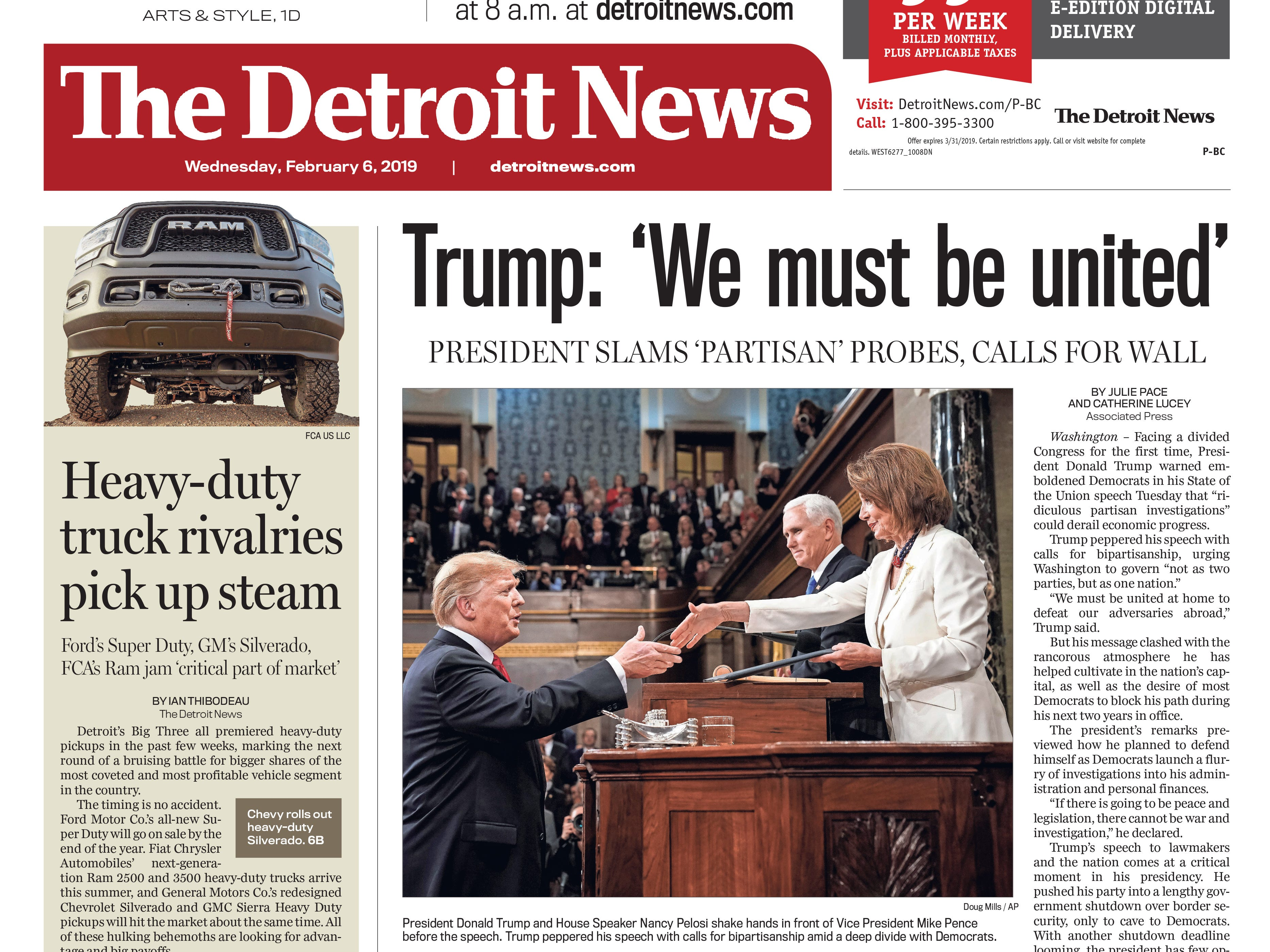 The front page of the Detroit News on Wednesday, February 6, 2019.