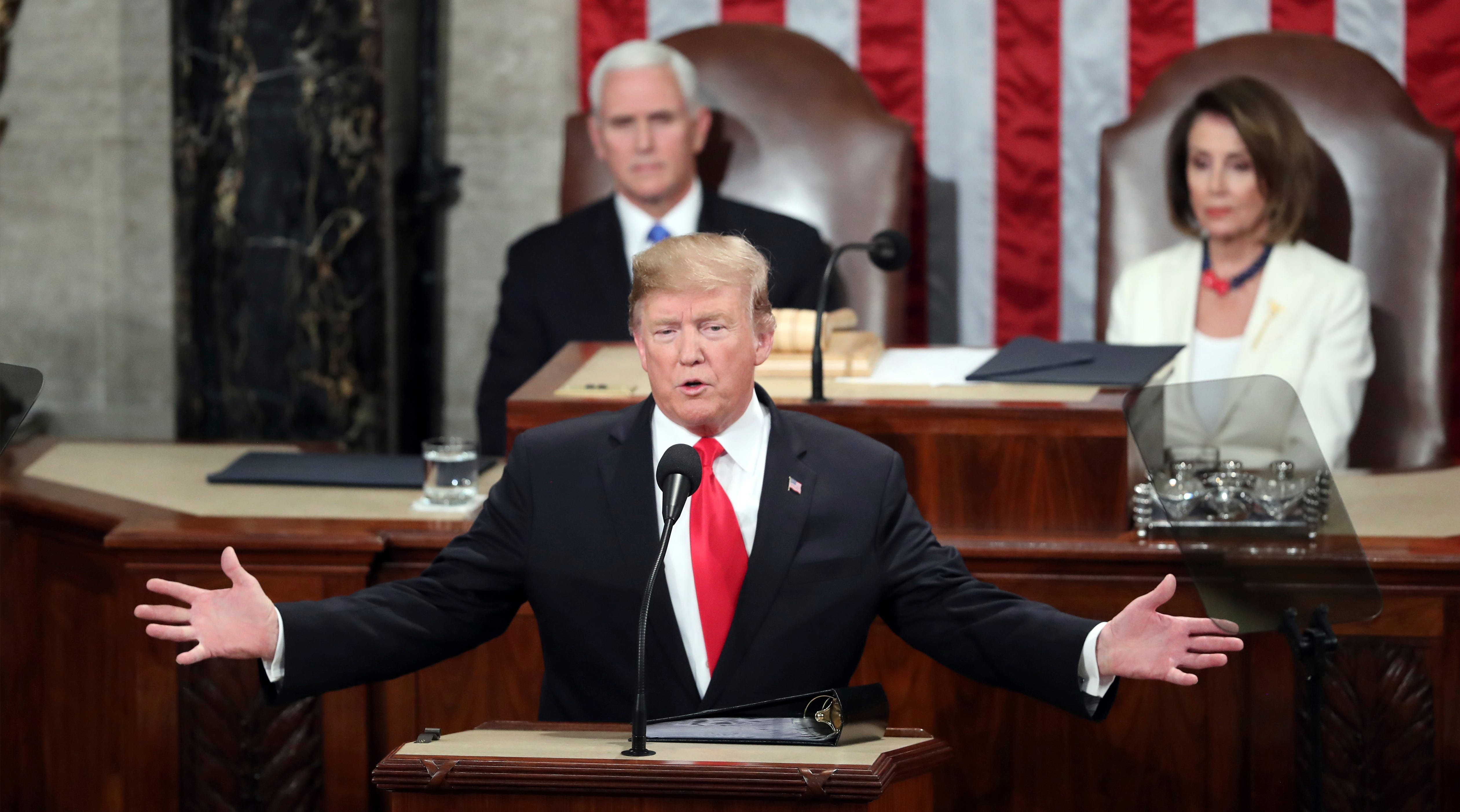President Donald Trump delivers his State of the Union address to a joint session of Congress on Capitol Hill in Washington, as Vice President Mike Pence and Speaker of the House Nancy Pelosi, D-Calif., watch, Tuesday, Feb. 5, 2019.