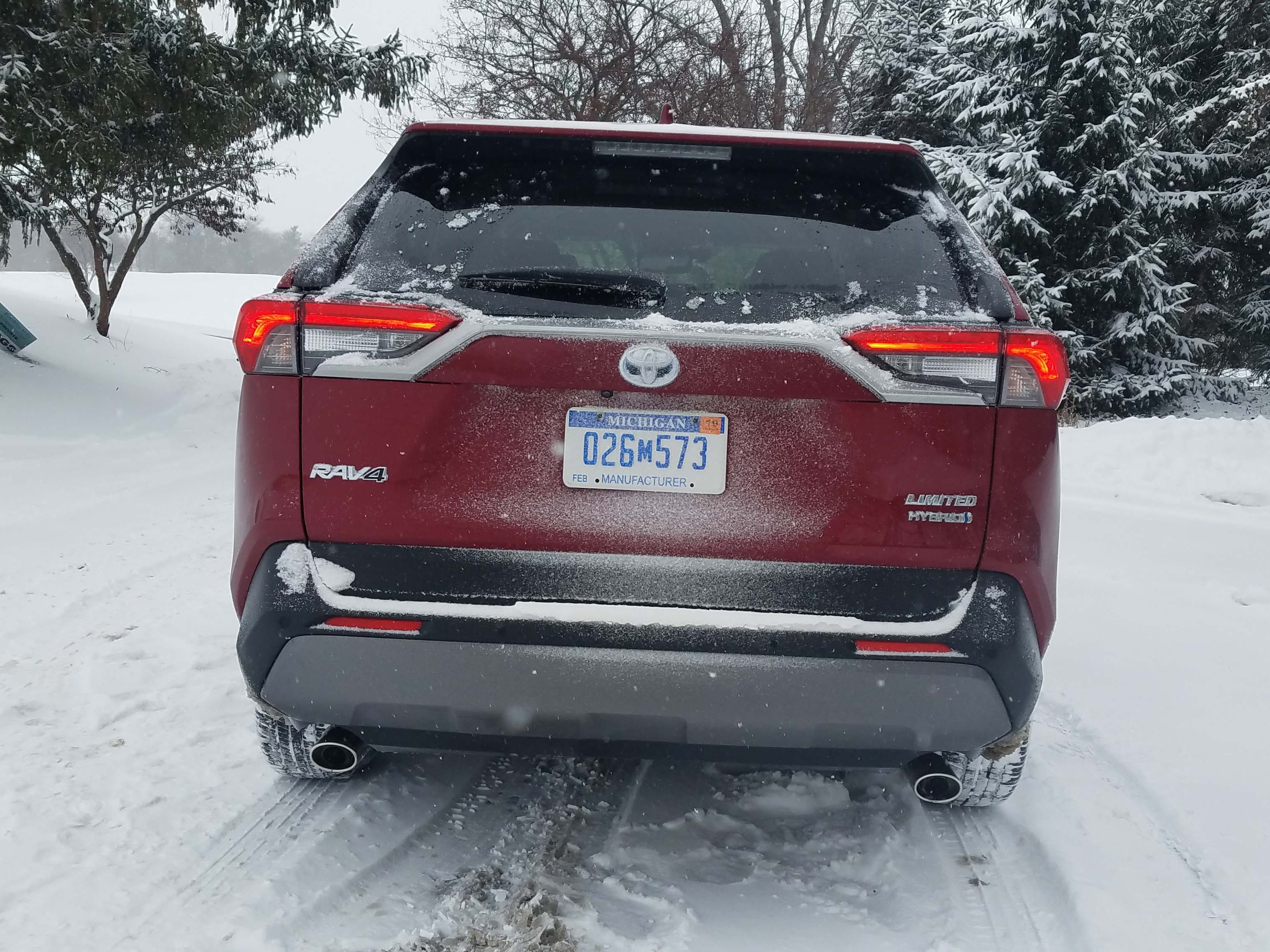 "The rear of the 2019 Toyota RAV4 Hybrid is not as funky as other Toyotas like the Prius — but the ""shelf-like"" taillights are different."