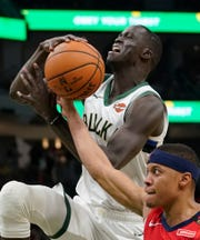 The Pistons acquired center Thon Maker (pictured) from the Bucks on Wednesday for Stanley Johnson.