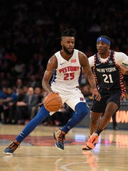 Reggie Bullock scored 19 in his final game with the Pistons on Tuesday night in New York.