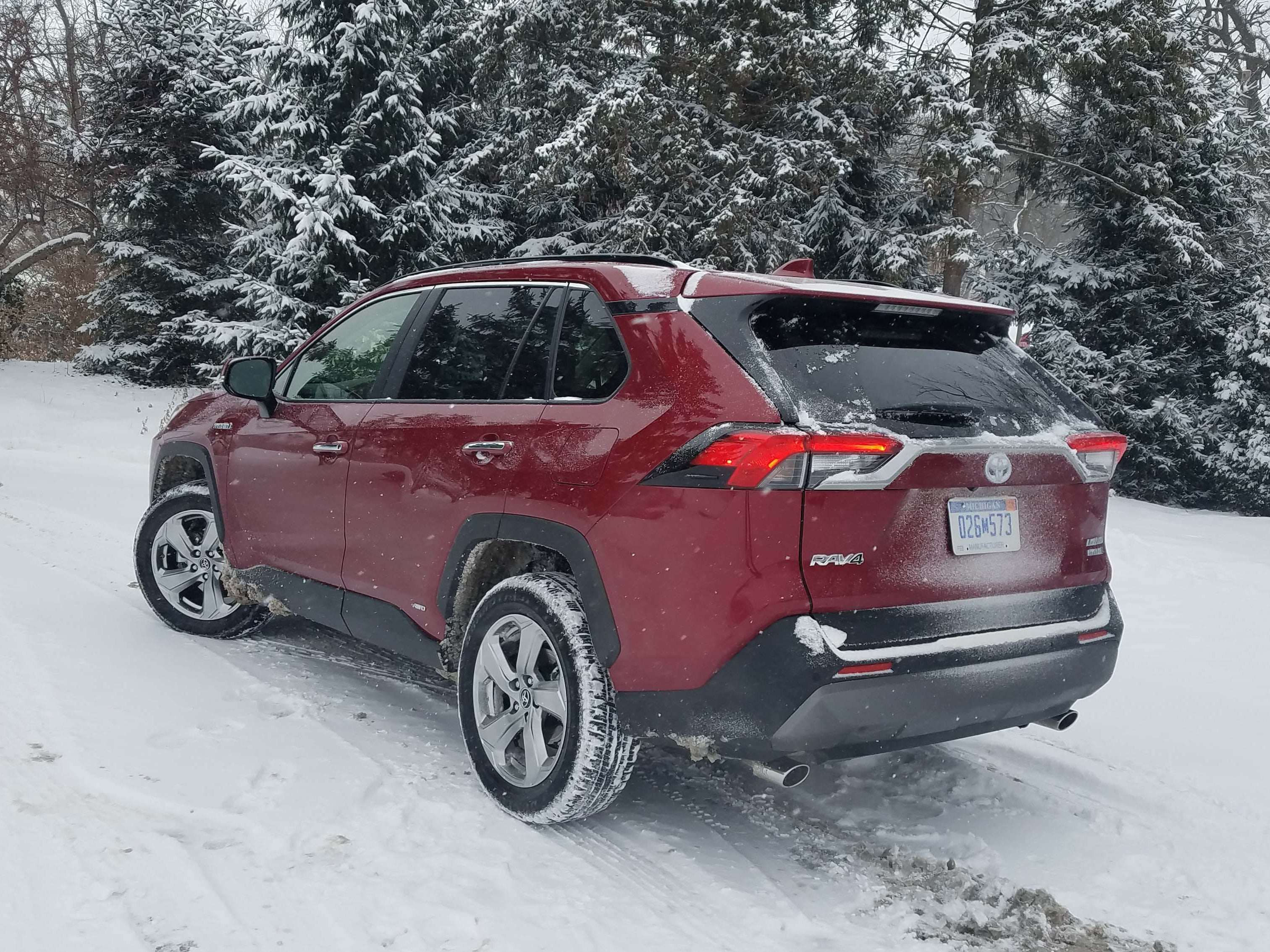 Steady Eddie. The 2019 Toyota RAV4 Hybrid is solid in the snow with AWD — and a chassis and independent suspension more refined from the previous generation.