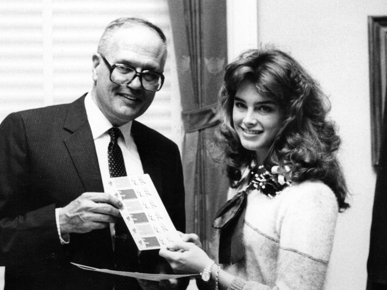 John Dingell and actress Brooke Shields are seen in an undated photo.
