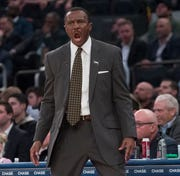 Pistons head coach Dwane Casey reacts during the second half.