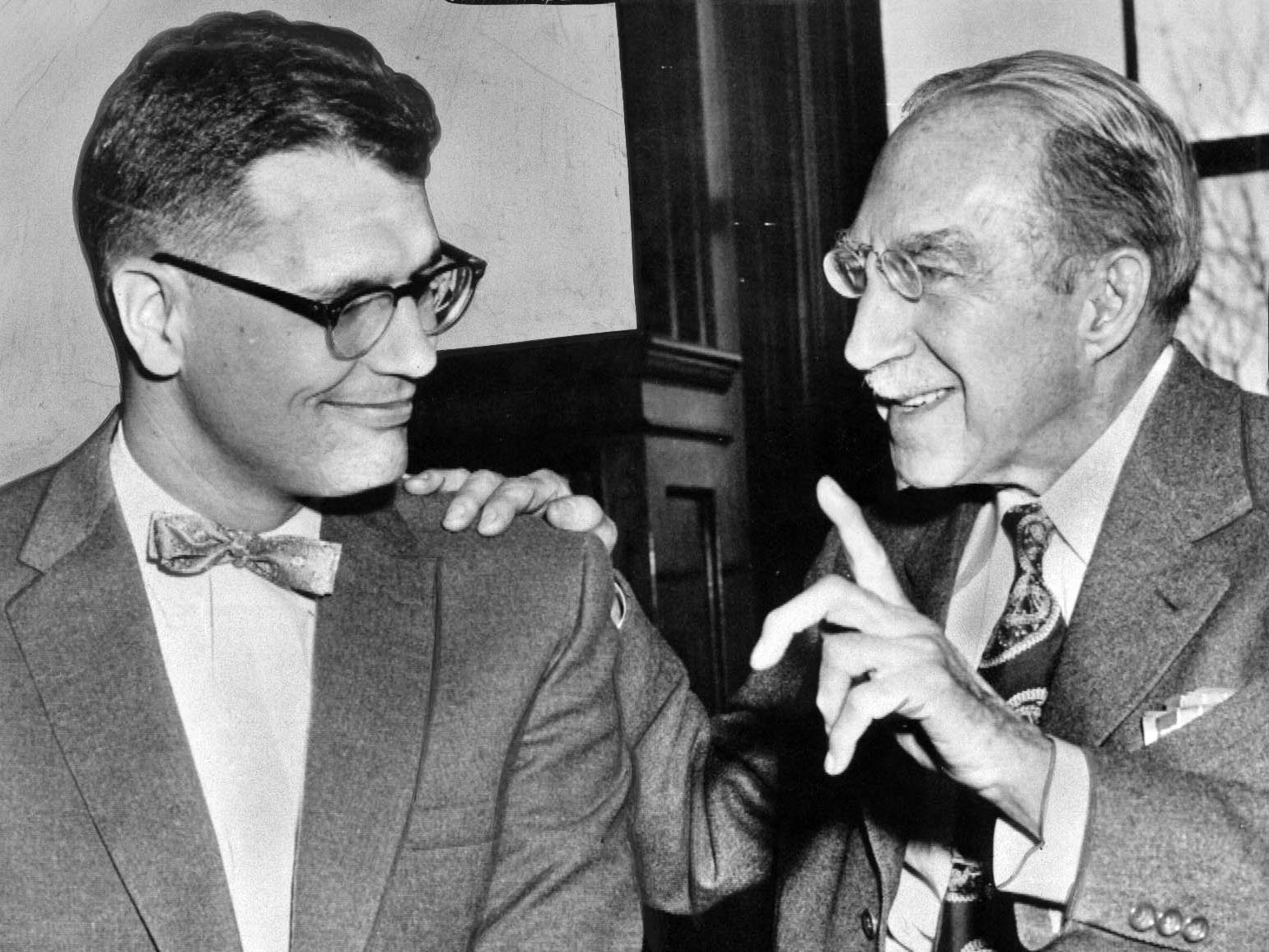 New U.S. Rep. John Dingell Jr. alks with Sen. Theodore Green of Rhode Island in 1957.