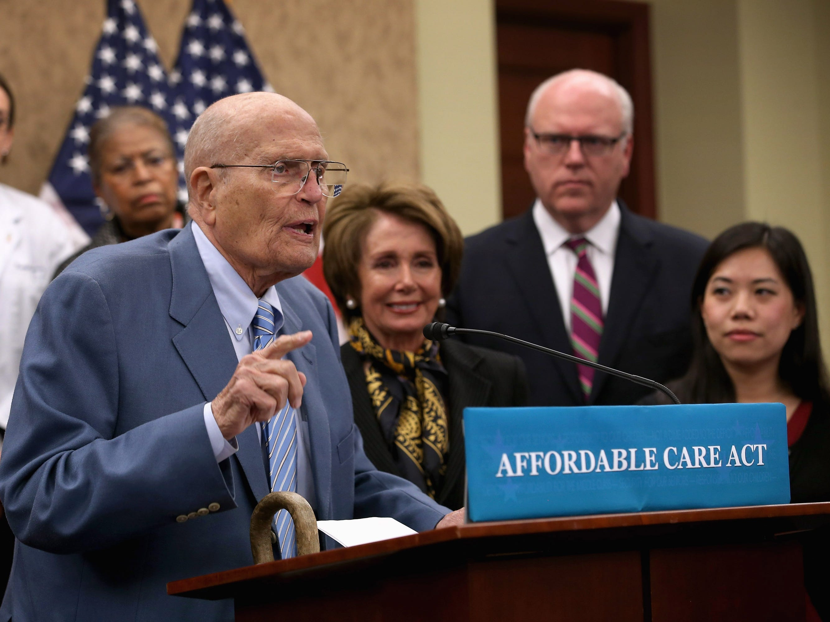 Dingell speaks during an event marking the third anniversary of the passage of the Affordable Care Act at the U.S. Capitol on March 20, 2013 in Washington, DC.  Early the following year, at age 87, he would announce his retirement.