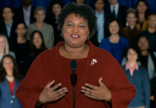 Stacey Abrams delivers the Democratic party's response to President Donald Trump's State of the Union address, Tuesday, Feb. 5, 2019 from Atlanta.