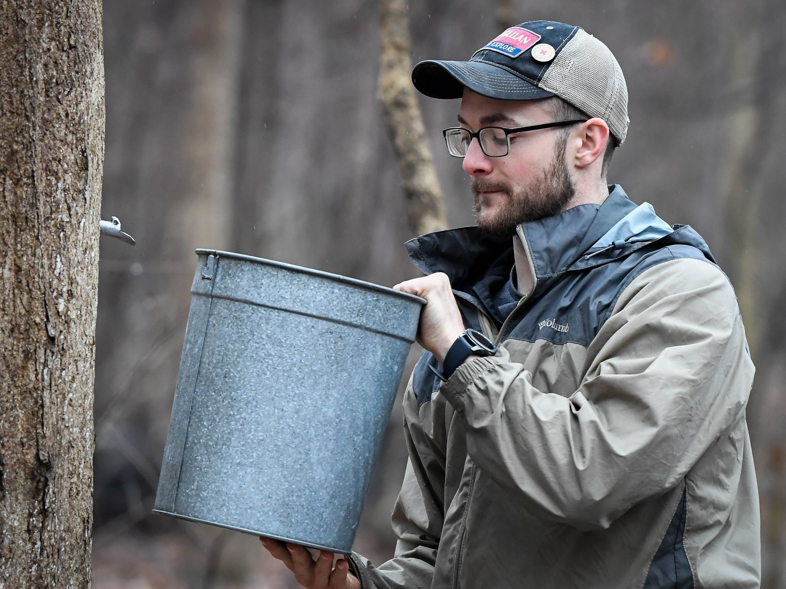 Derek Cox attaches a sap bucket to a spout driven into a sugar maple tree at Evansville's Wesselman Woods Nature Preserve, Tuesday, February 5, 2019.