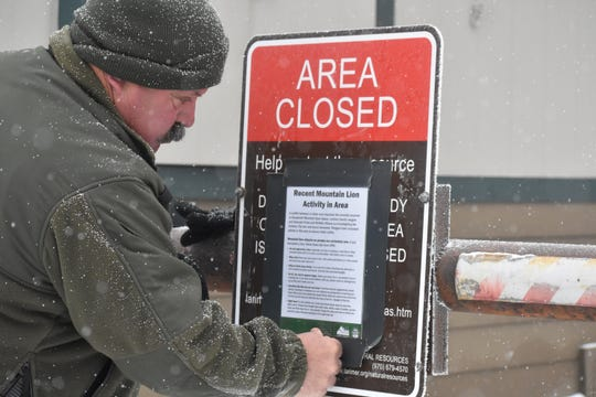 A Larimer County, Colorado Natural Resources ranger puts up a sign warning of recent mountain lion activity at the main parking lot of Horsetooth Mountain Open Space. A trail runner was attacked by a mountain lion at the open space and after a struggle eventually killed the lion.