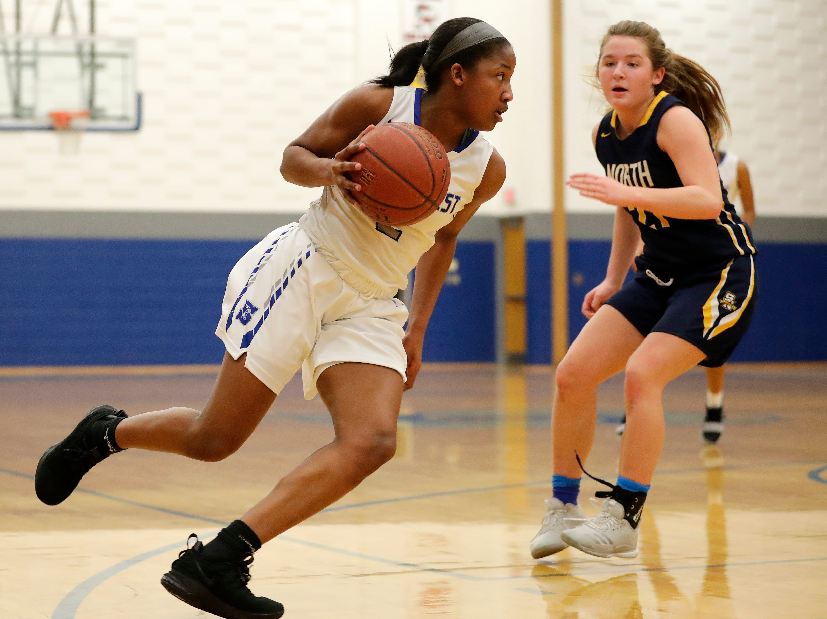 Green Bay Southwest's Jaddan Simmons (2) dribbles against Sheboygan North in a girls basketball game at Southwest High School on Tuesday, February 5, 2019 in Green Bay, Wis.
