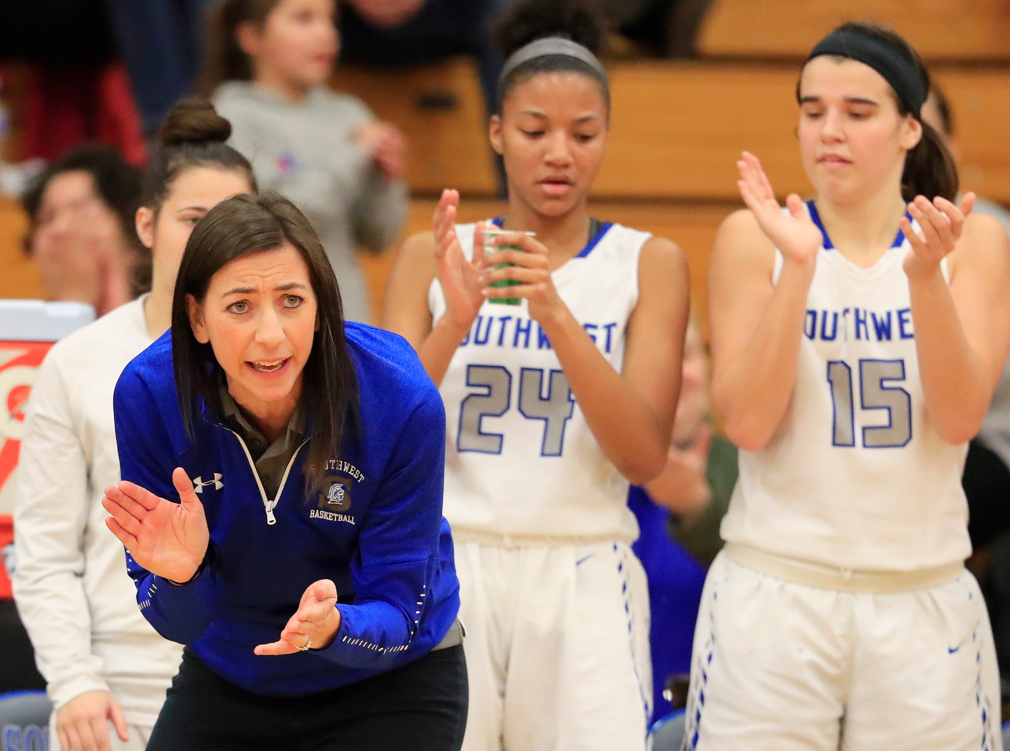 Green Bay Southwest head coach Erin Barkley reacts during a girls basketball game at Southwest High School on Tuesday, February 5, 2019 in Green Bay, Wis.