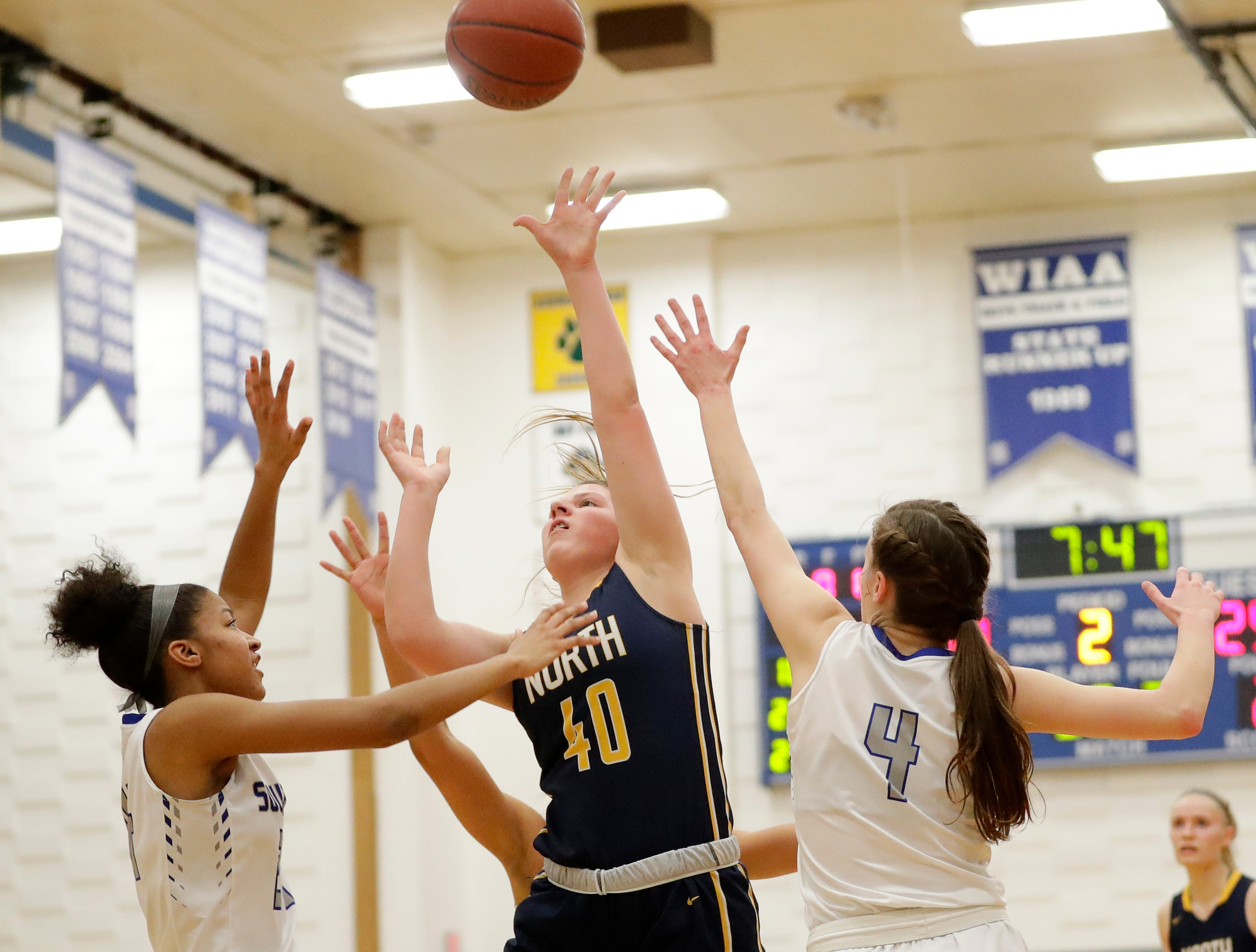 Sheboygan North's Macy Schetter (40) shoots against Green Bay Southwest in a girls basketball game at Southwest High School on Tuesday, February 5, 2019 in Green Bay, Wis.