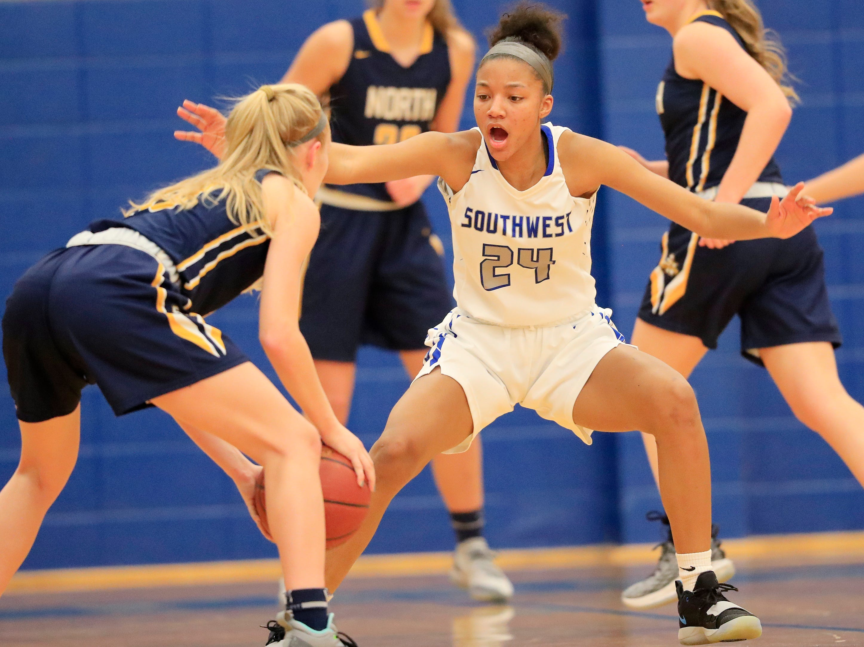 Green Bay Southwest's Jahzmeen Jackson (24) defends against Sheboygan North in a girls basketball game at Southwest High School on Tuesday, February 5, 2019 in Green Bay, Wis.