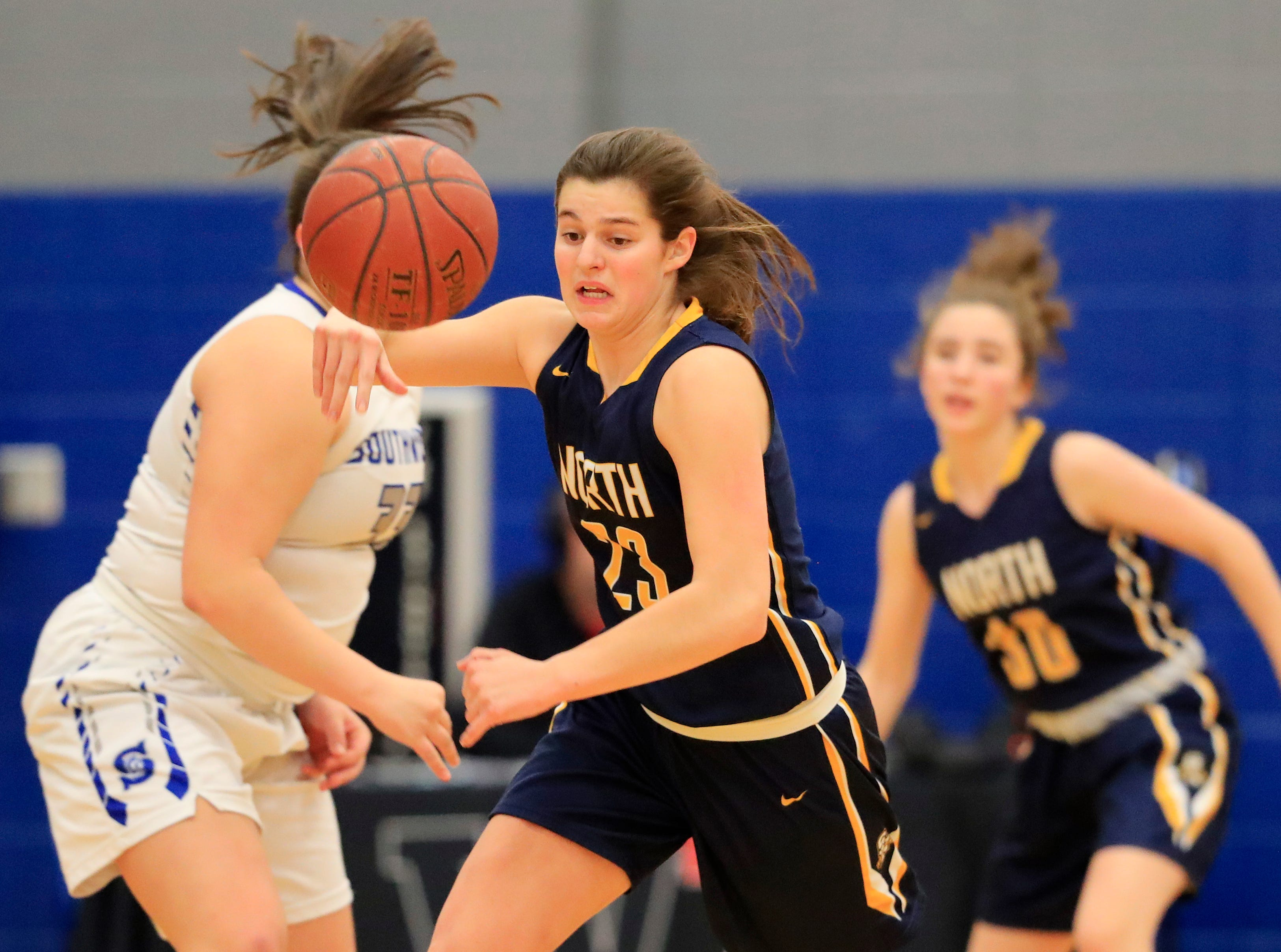 Sheboygan North's Meredith Opie (23) gets a steal against Green Bay Southwest in a girls basketball game at Southwest High School on Tuesday, February 5, 2019 in Green Bay, Wis.
