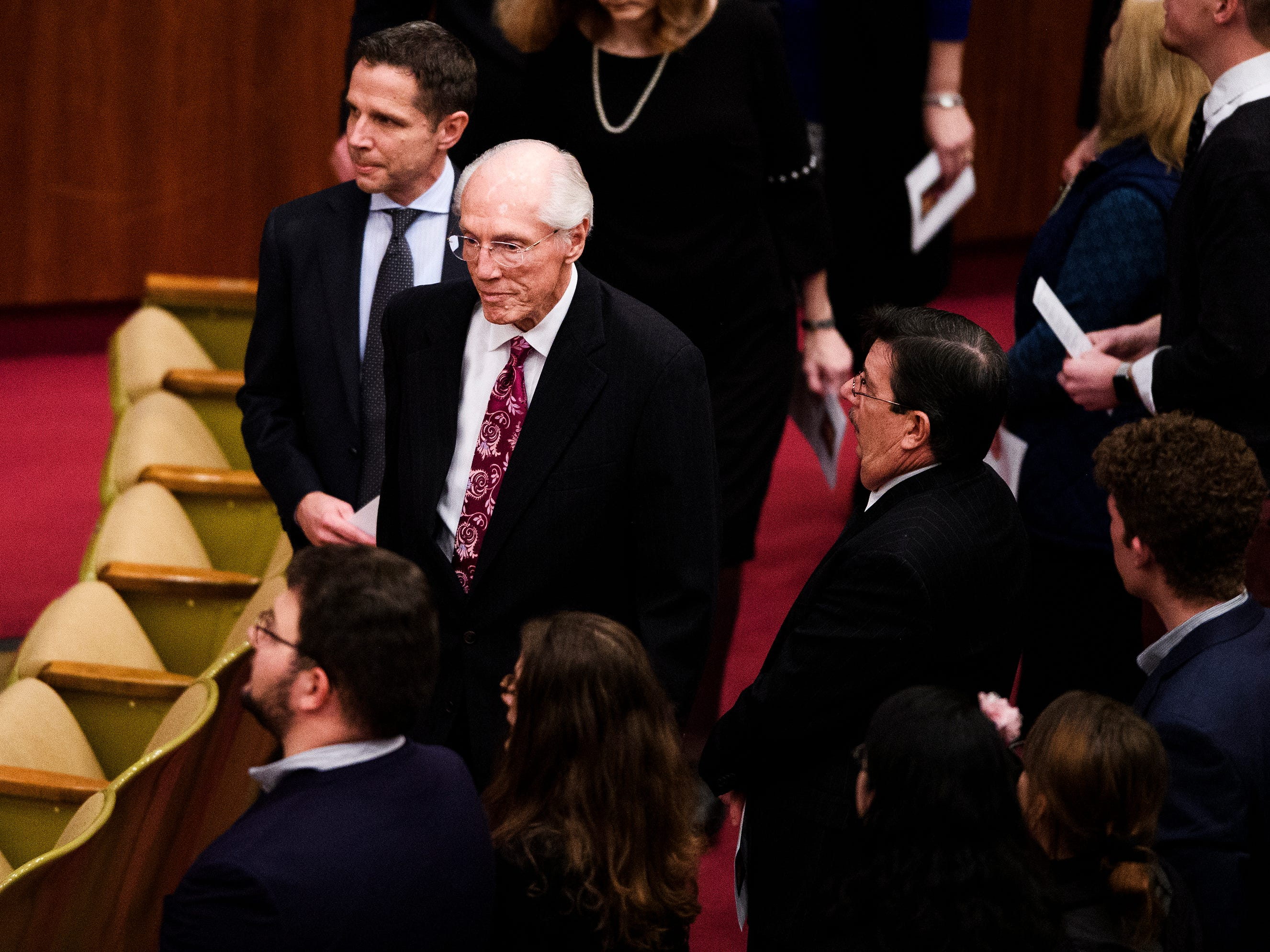 Bob Jones III and other loved ones of Beneth Peters Jones take their seats at Founder's Memorial Amphitorium before Beneth's funeral service on Wednesday, Feb. 6, 2019.