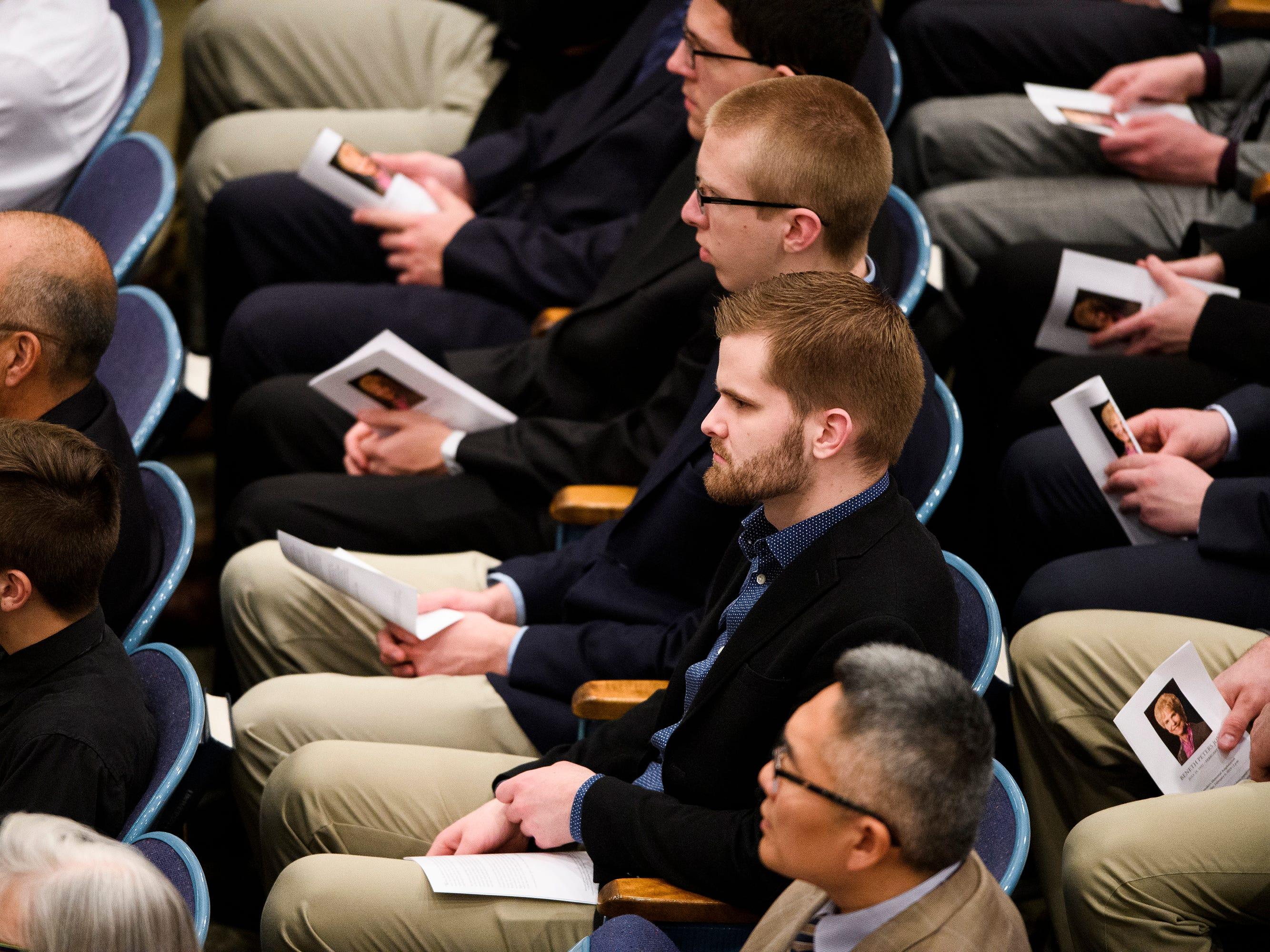 Hundreds attend the funeral service of Beneth Peters Jones at Bob Jones University on Wednesday, Feb. 6, 2019.