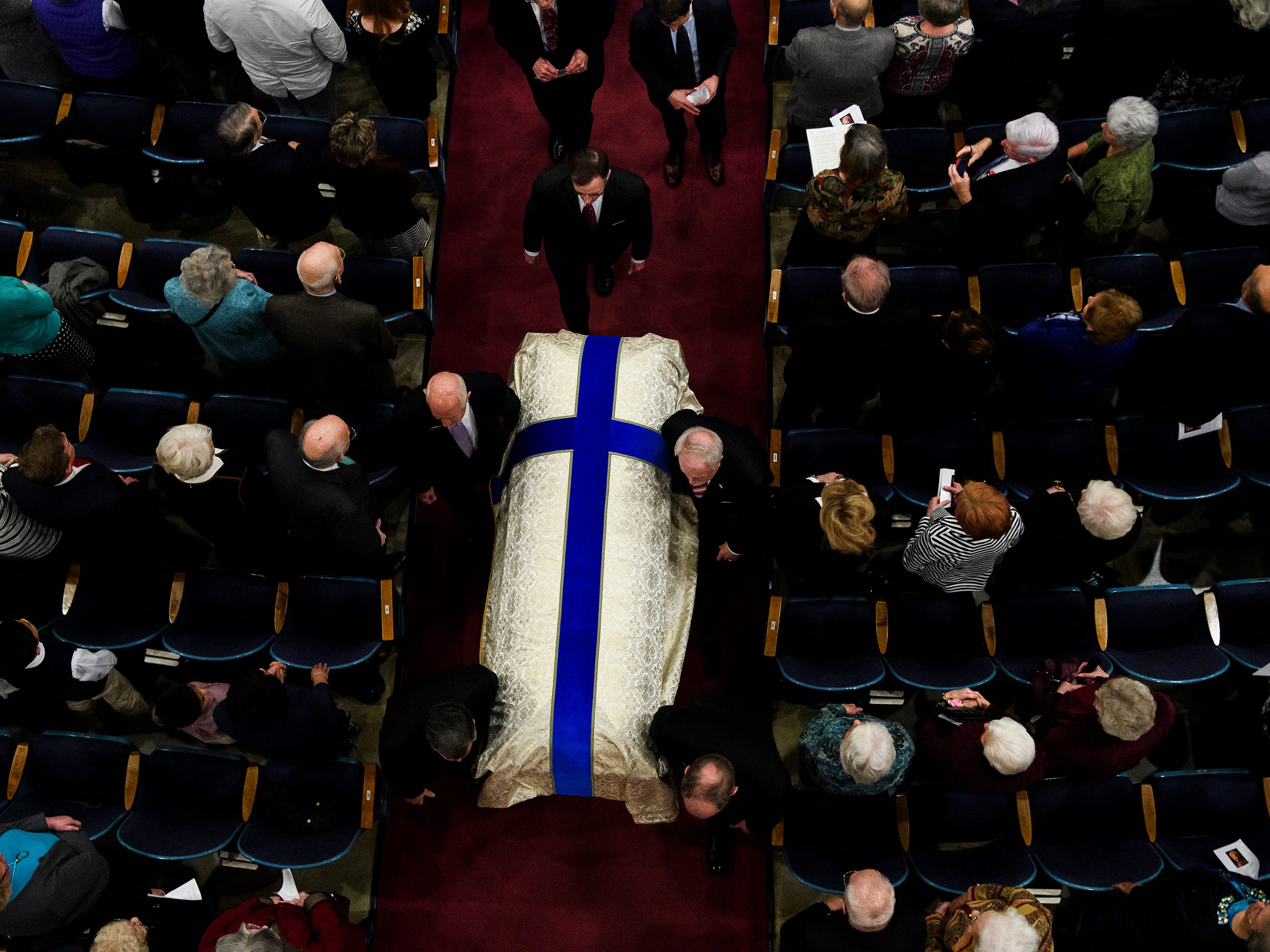 The body of Beneth Peters Jones is moved out of Founder's Memorial Amphitorium after her funeral service  on Wednesday, Feb. 6, 2019.