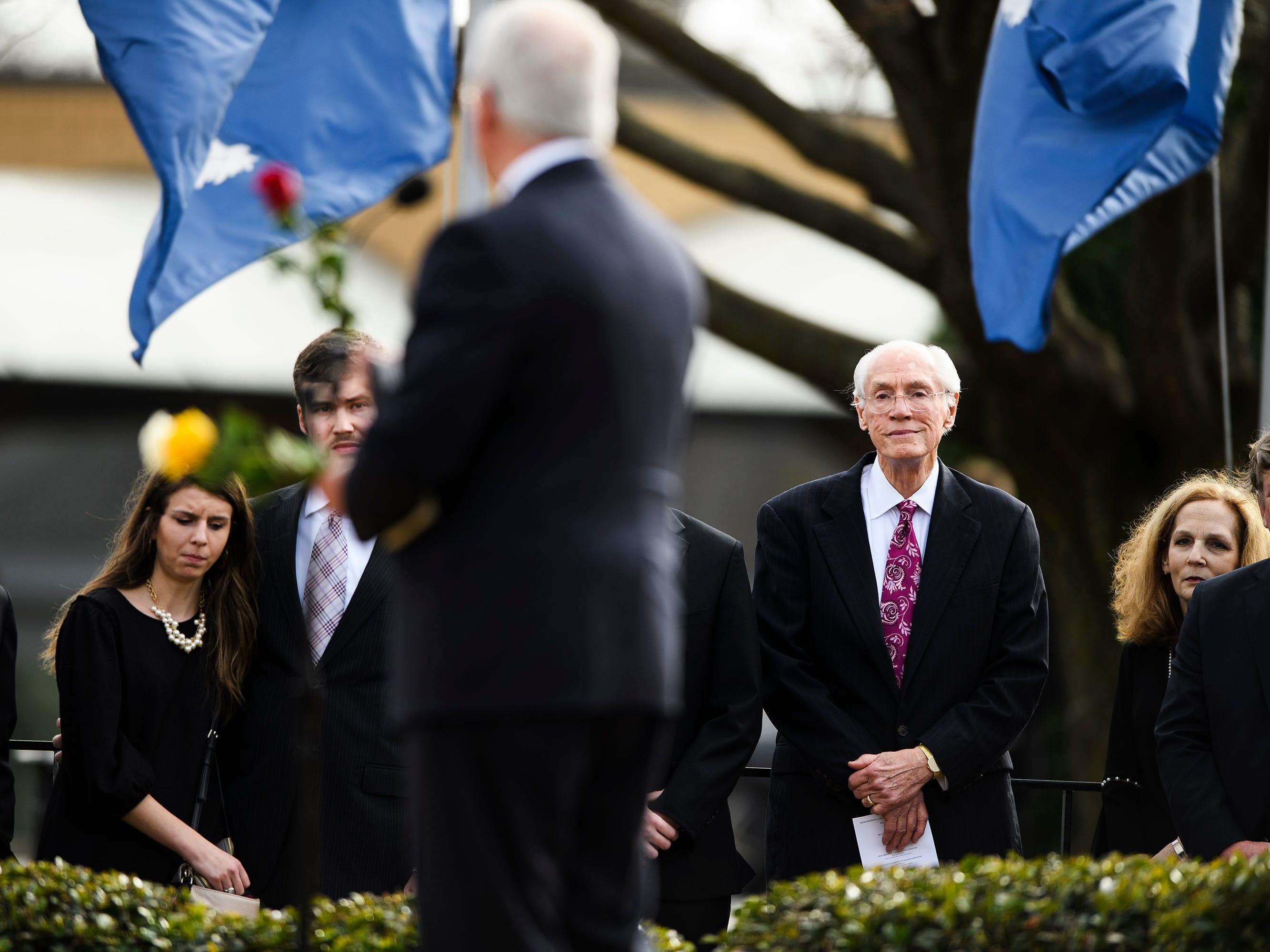 Bob Jones III and other loved ones of Beneth Peters Jones attend Beneth's funeral service at Bob Jones University on Wednesday, Feb. 6, 2019.