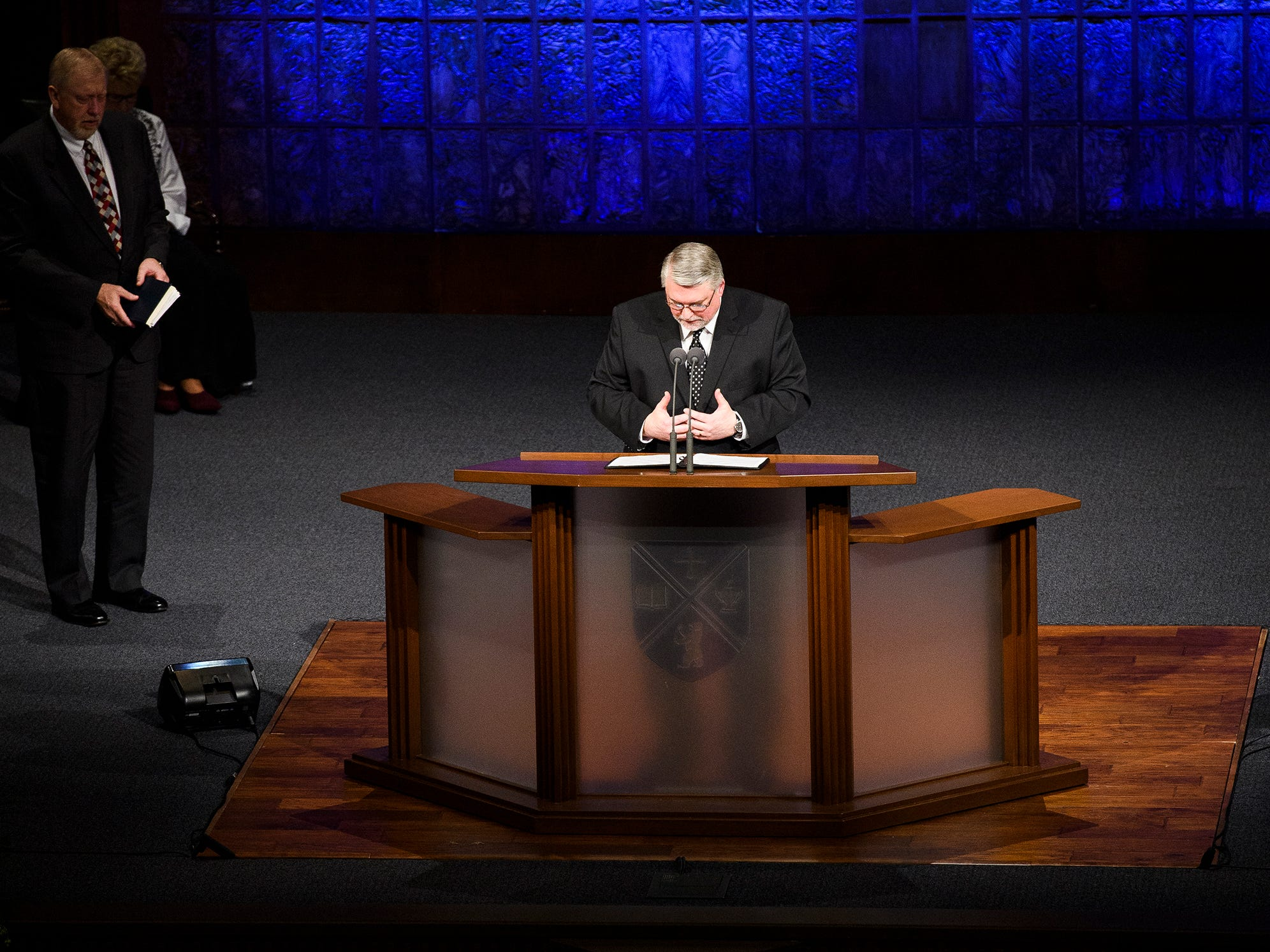 Pastor Phil Gerard leads a prayer during the funeral service for Beneth Peters Jones at Bob Jones University on Wednesday, Feb. 6, 2019.