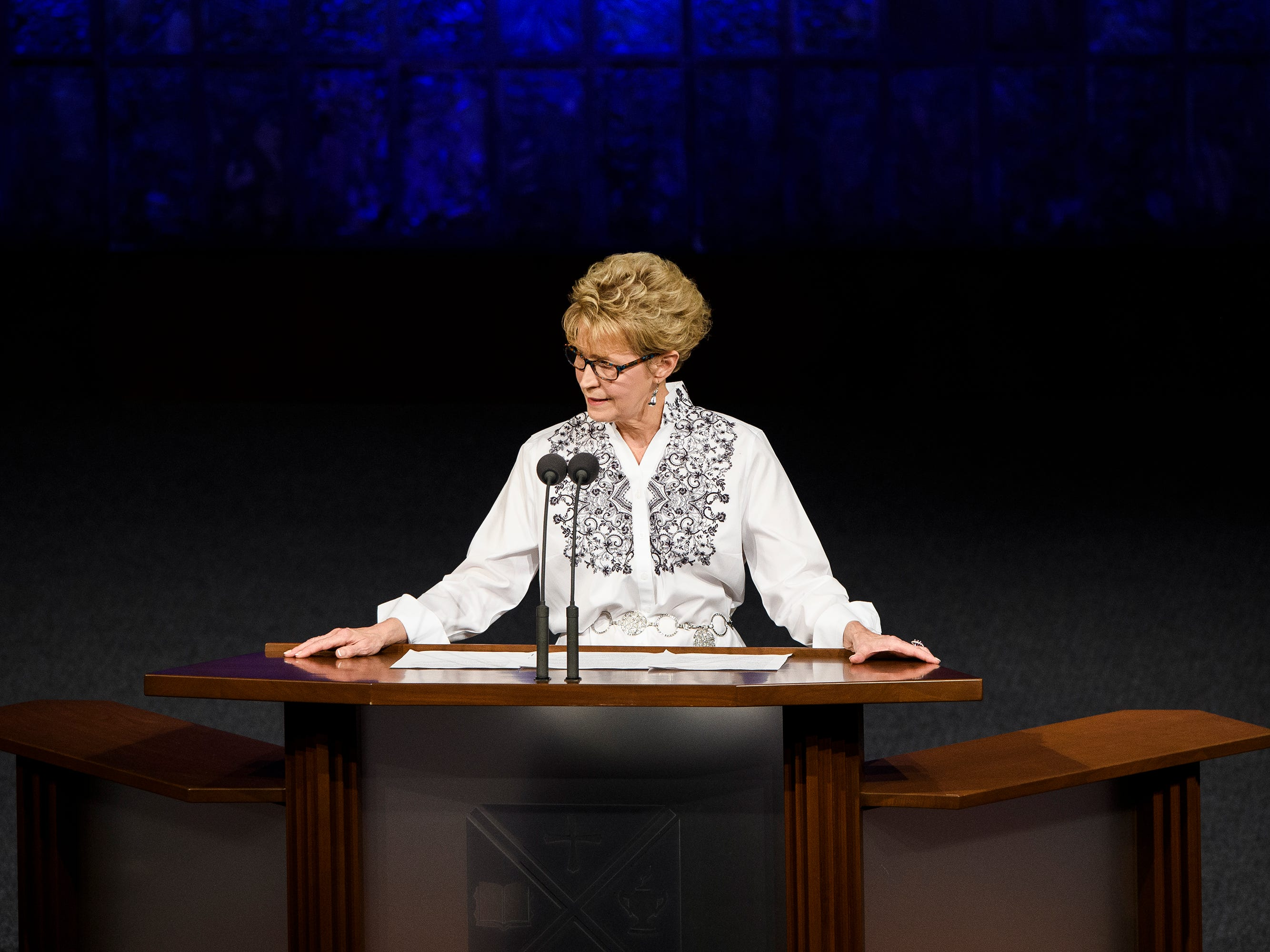 Donnalynn Hess speaks about the life of Beneth Peters Jones during her funeral service at Bob Jones University on Wednesday, Feb. 6, 2019.