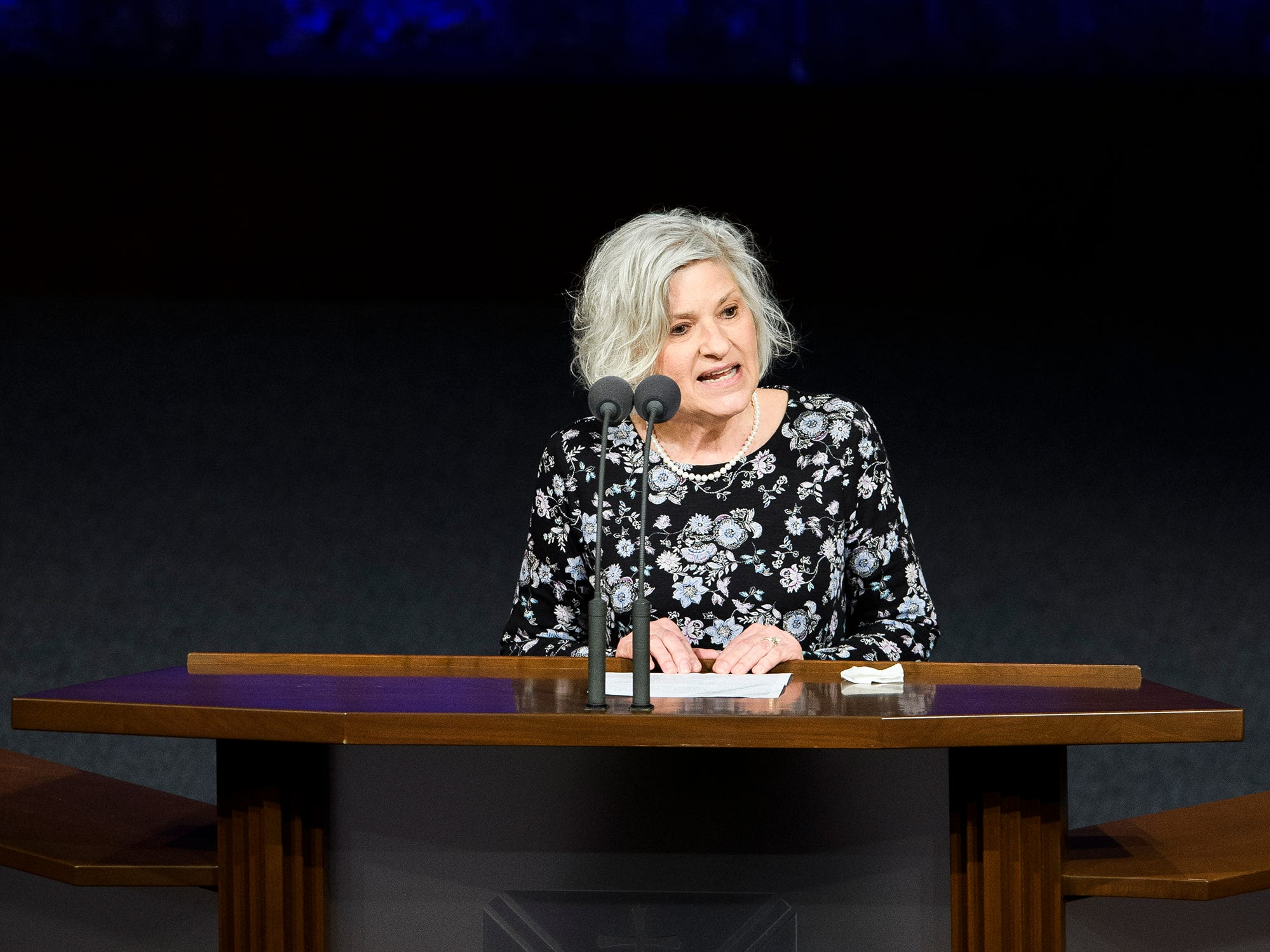 Jan Reimers speaks about the life of Beneth Peters Jones during her funeral service at Bob Jones University on Wednesday, Feb. 6, 2019.