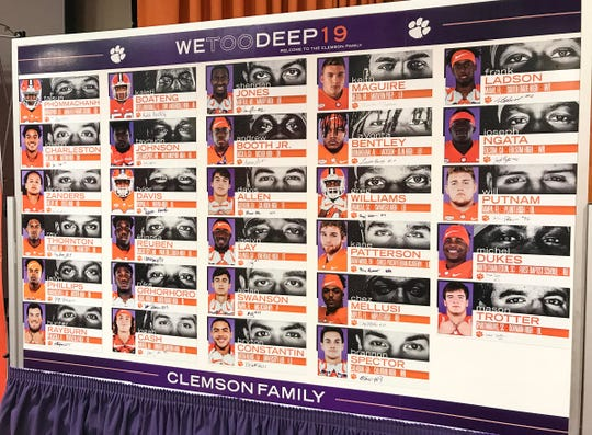 A chart with photographs and information about Clemson's recruiting class during National Letter of Intent signing day.