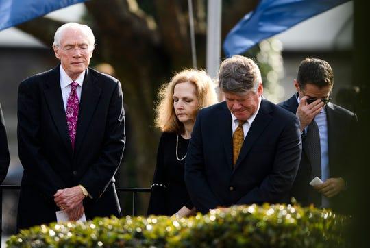 Bob Jones III, left, and other loved ones of Beneth Peters Jones attend Beneth's funeral service at Bob Jones University on Wednesday, Feb. 6, 2019.