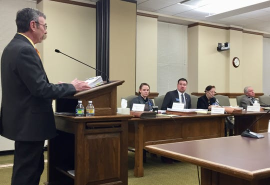 Rep. Kerry White, R-Bozeman, talks Wednesday to the House Taxation Committee.