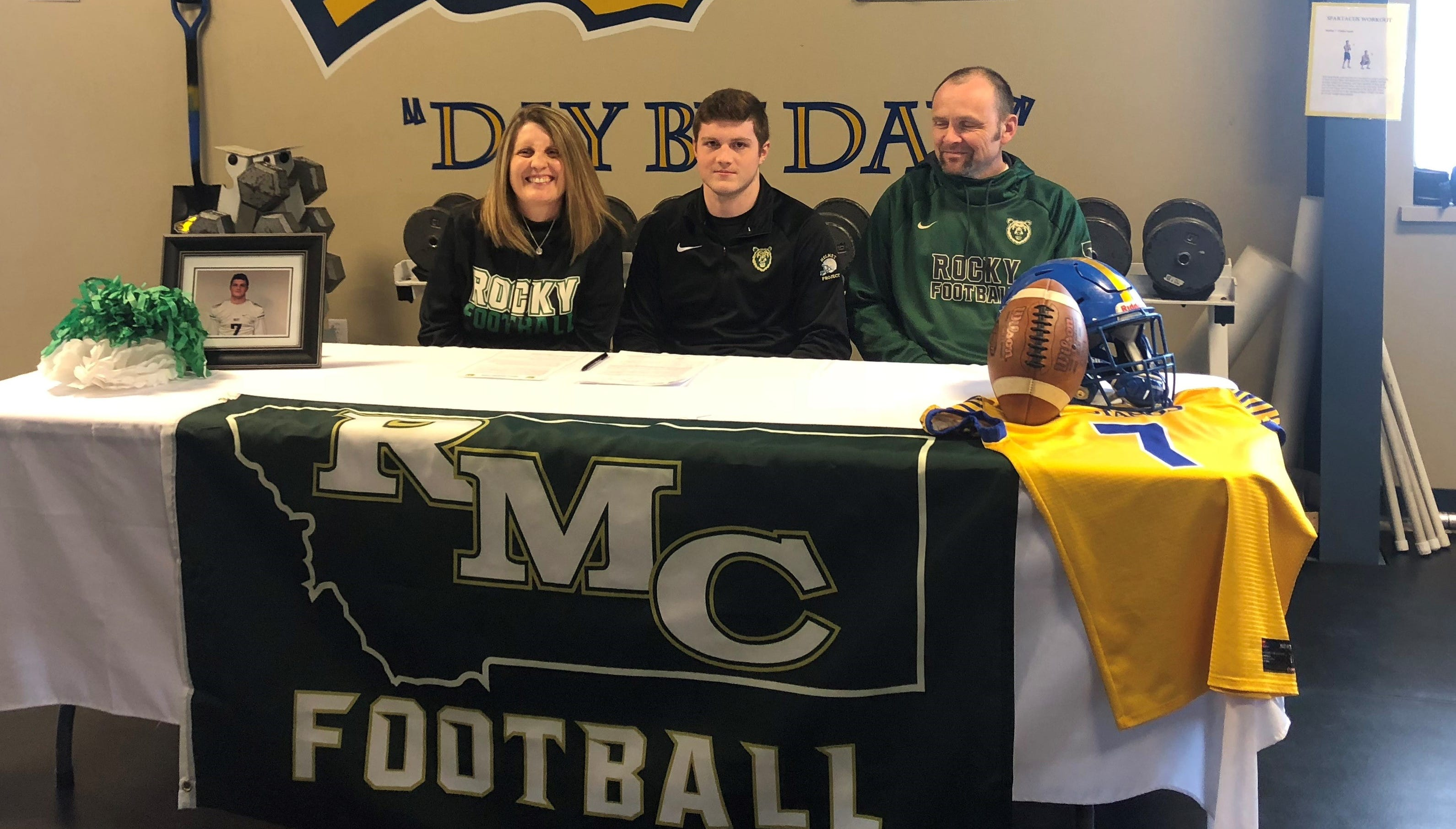 Great Falls Central's Riley Dickinson signed his NAIA college letter-of-intent to play football for Rocky Mountain College next fall.