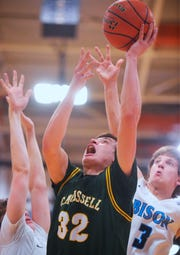 CMR's Bryce Depping attempts a layup in the boys crosstown basketball game against Great Falls High in the Swarthout Fieldhouse, Tuesday.