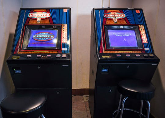 Super Liberty gaming machines, available for adult play only, in a Harmon restaurant on Wednesday, Feb. 6, 2019.