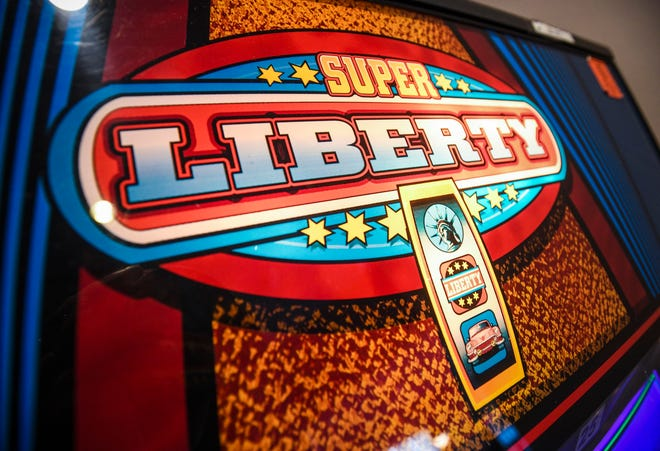 A Super Liberty gaming machine, available for adult play only, in a Harmon restaurant is shown in this Feb. 6, 2019, file photo.