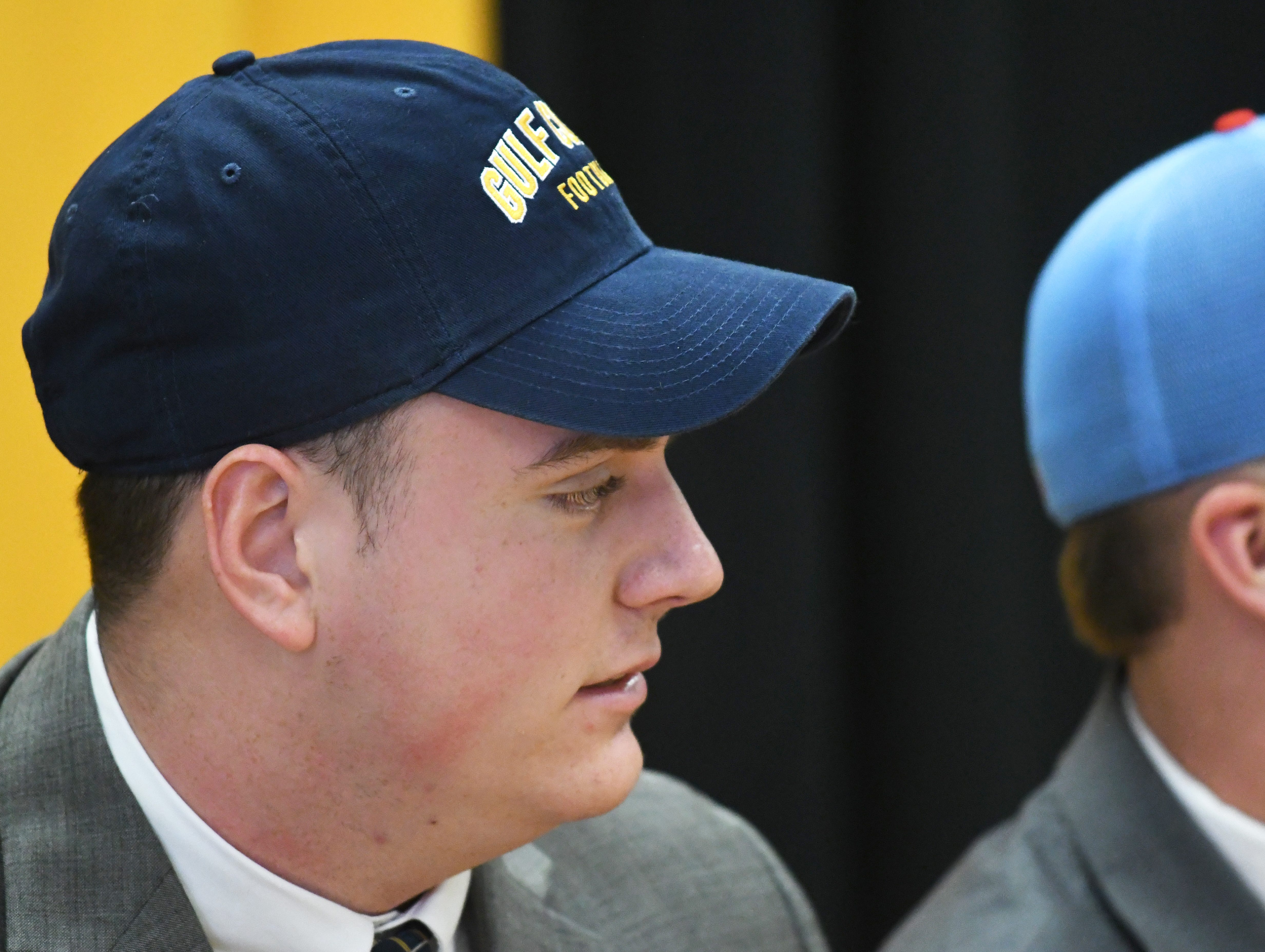 Oak Grove athlete Thomas Holford commits to Mississippi Gulf Coast Community College during National Signing Day in Hattiesburg on Wednesday, February 6, 2019.