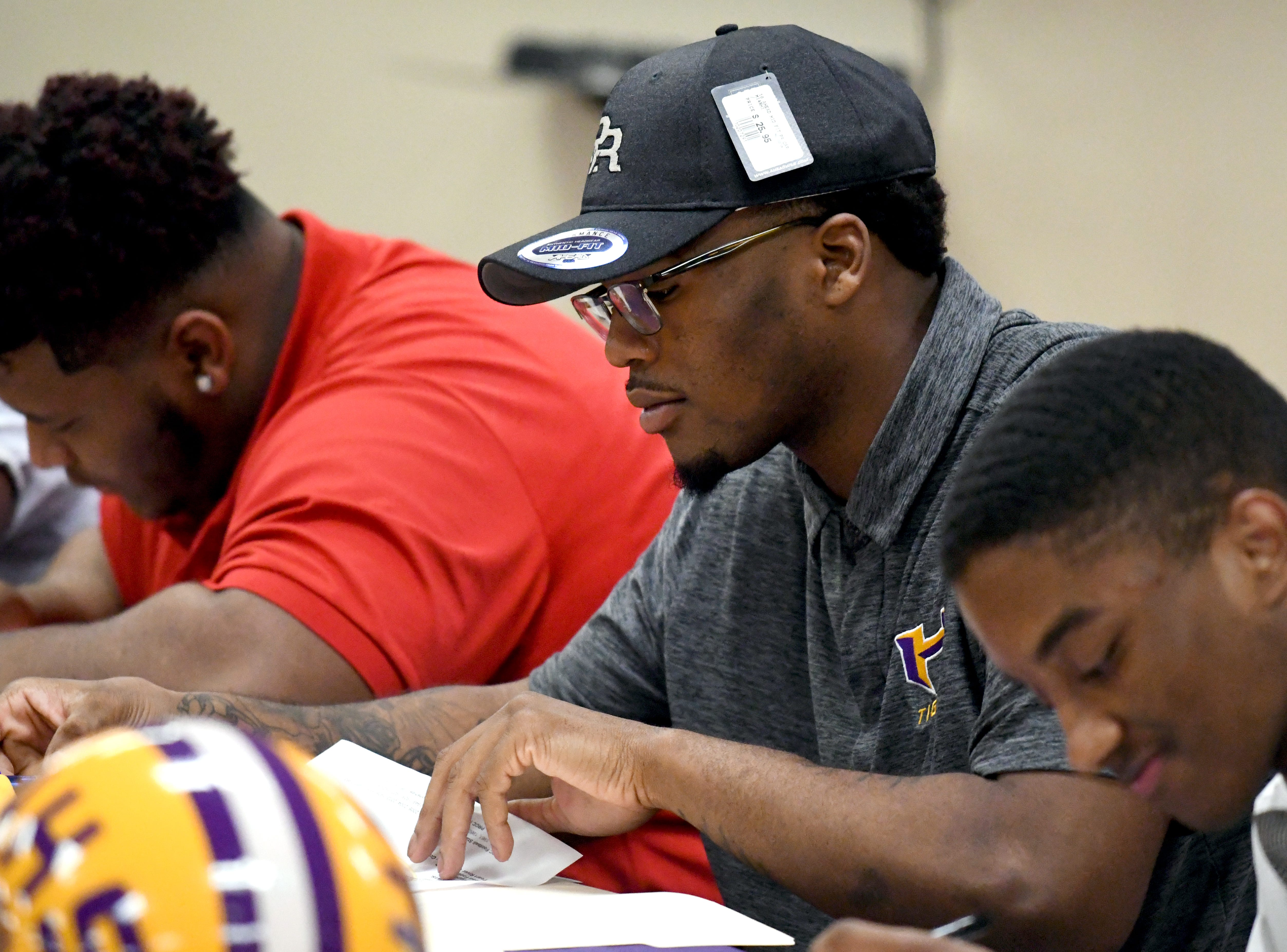 Hattiesburg High senior Christian Turner signed with Pearl River Community College during National Signing Day in Hattiesburg on Wednesday, February 6, 2019.