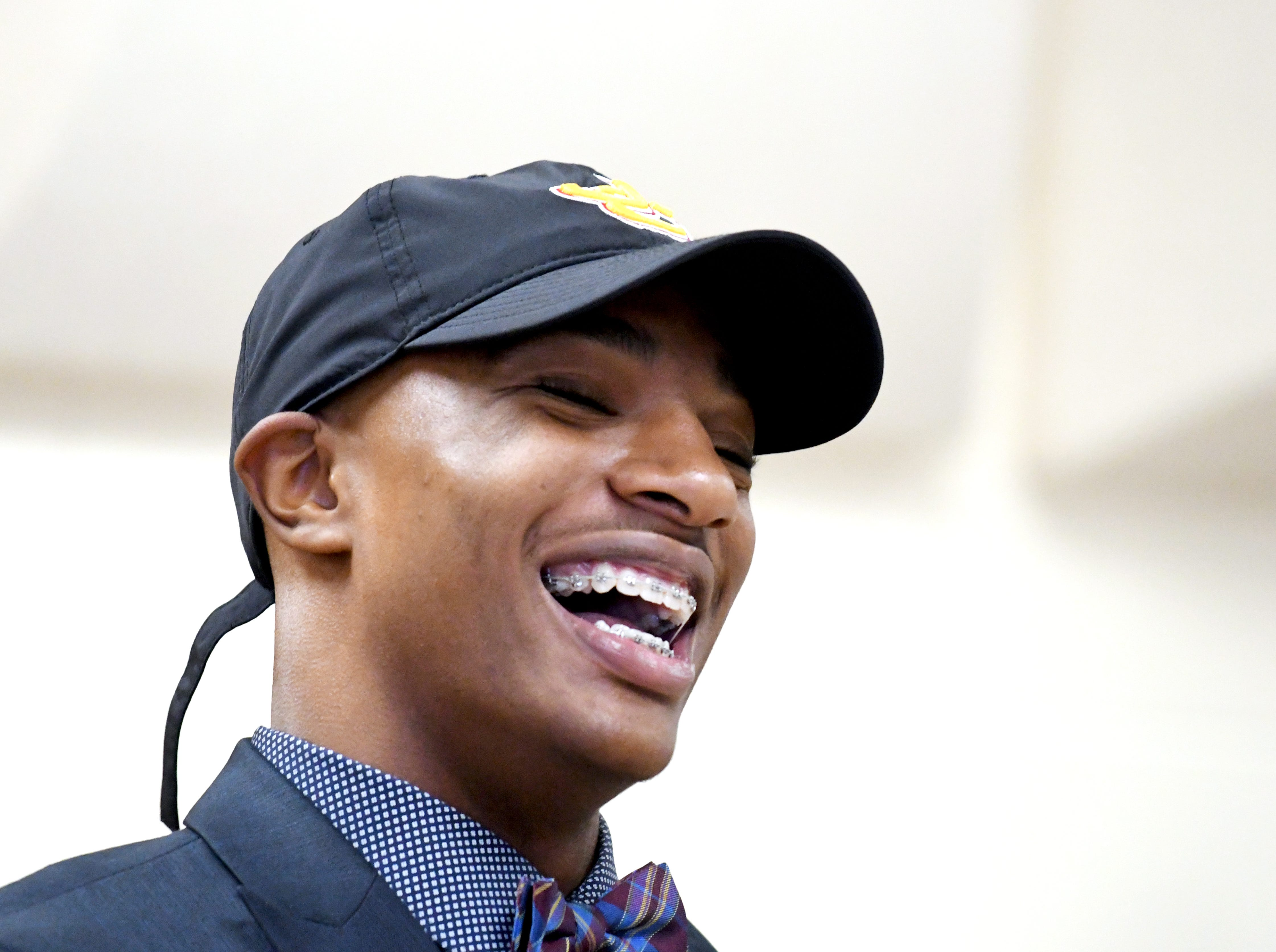 Oak Grove athlete Jeric Franklin commits to Jones County Junior College to play football during National Signing Day in Hattiesburg on Wednesday, February 6, 2019.
