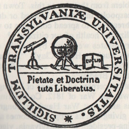 The original seal of Transylvania University in Lexington when it was founded in 1780. It was Kentucky's first university.