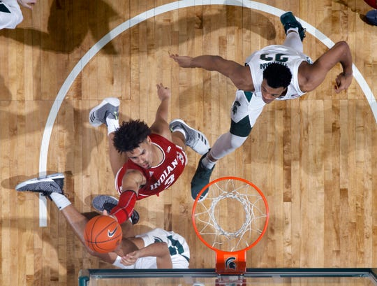 Indiana's Justin Smith (3) had a breakout game against Michigan State. Indiana won 79-75 in overtime. (AP Photo/Al Goldis)