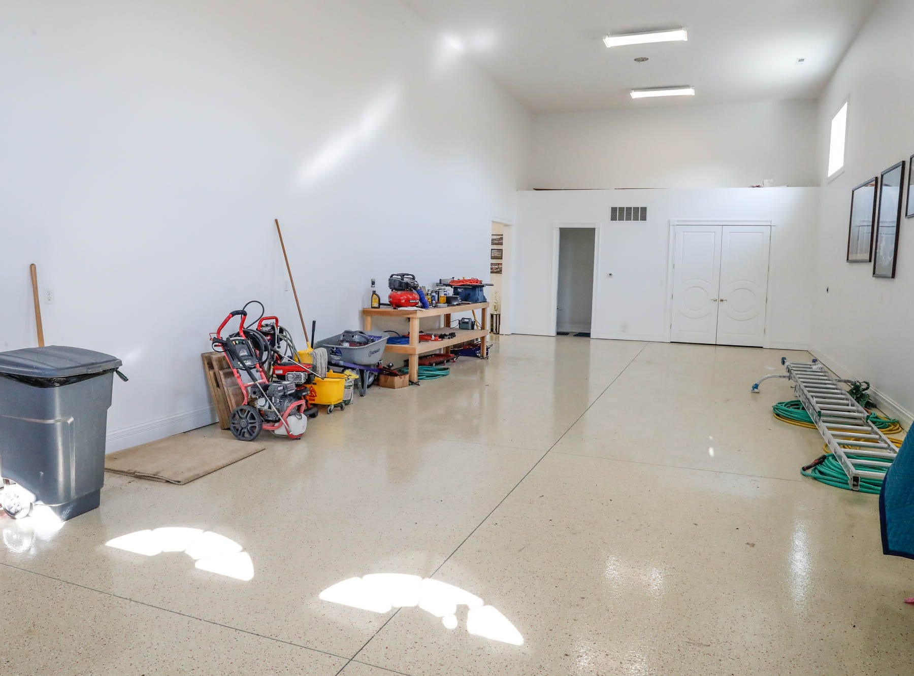An unattached garage has room for a fleet of cars and a motorhome at a Greenwood home up for sale at 1216 Stone Ridge Court, Greenwood, Ind. on Wednesday, Jan. 30, 2019. The home features 8,234 square feet, four bedrooms, two master suites, a 10 car garage, and an exercise room.