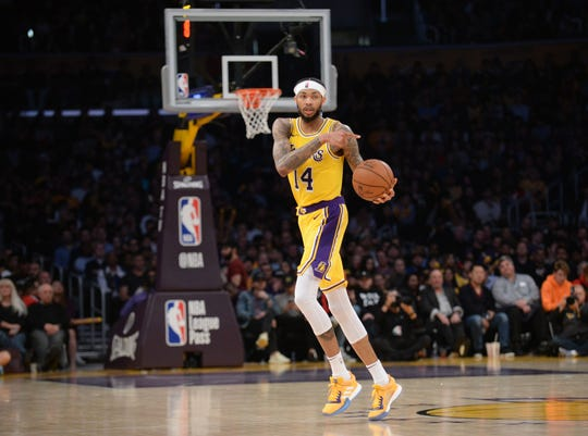 FILE -- January 29, 2019; Los Angeles, CA, USA; Los Angeles Lakers forward Brandon Ingram (14) controls the ball against the Philadelphia 76ers during the second half at Staples Center.