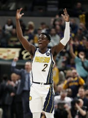 Indiana Pacers guard Darren Collison (2) rallies the fans in the first half of their game at Bankers Life Fieldouse on Tuesday, Feb. 5, 2019.